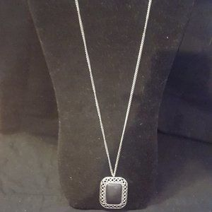 Paparazzi Silver and Black Stone Necklace Set